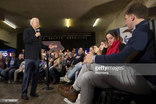 Former U.S. Vice President Joe Biden, 2020 Democratic presidential candidate, left, speaks during a campaign event in Waterloo, Iowa, U.S., on...
