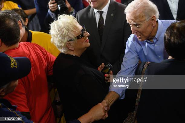 Former US Vice President Joe Biden 2020 Democratic presidential candidate greets supporters after speaking at the Teamsters Local 249 hall during a...