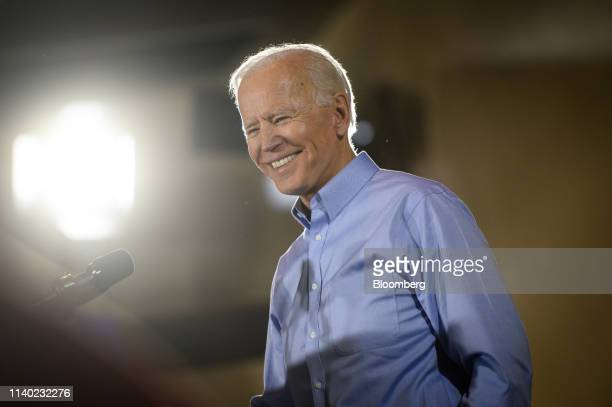 Former US Vice President Joe Biden 2020 Democratic presidential candidate smiles while speaking at the Teamsters Local 249 hall during a campaign...