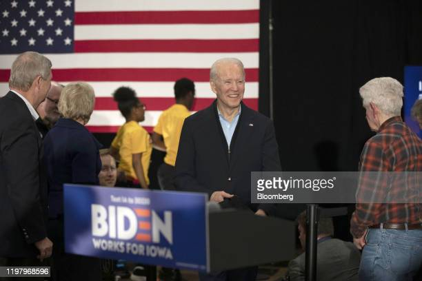 Former U.S. Vice President Joe Biden, 2020 Democratic presidential candidate, center, arrives to speak during a campaign event in Waterloo, Iowa,...
