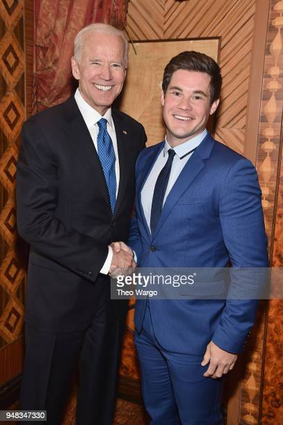Former US Vice President Joe Biden and Actor Adam DeVine attend the Biden Courage Awards Presented by It's On Us at the Russian Tea Room on April 18...