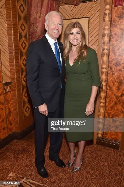 Former US Vice President Joe Biden and Actor Connie Britton attend the Biden Courage Awards Presented by It's On Us at the Russian Tea Room on April...