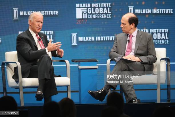 Former US Vice President Joe Biden and Chairman of the Milken Institute Michael Milken speak during the Milken Institute Global Conference 2017 at...