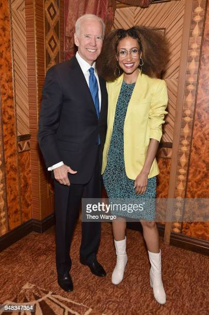 Former US Vice President Joe Biden and Elaine Welteroth attend the Biden Courage Awards Presented by It's On Us at the Russian Tea Room on April 18...