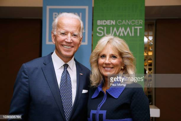 Former US Vice President Joe Biden and his wife Dr Jill Biden host the Biden Cancer Summit Welcome Reception at Intercontinental Hotel on September...