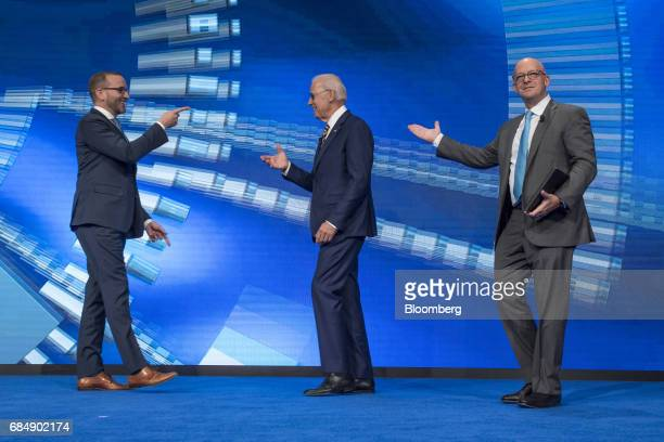 Former US Vice President Joe Biden center arrives on stage prior to speaking at the Skybridge Alternatives conference in Las Vegas Nevada US on...