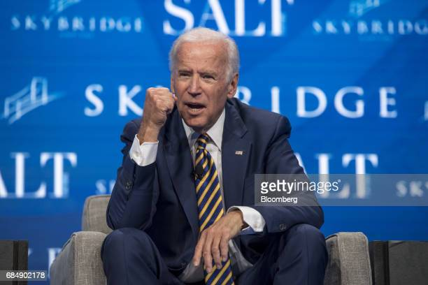 Former US Vice President Joe Biden gestures as he speaks at the Skybridge Alternatives conference in Las Vegas Nevada US on Thursday May 18 2017 The...
