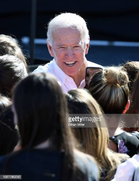 Former US Vice President Joe Biden greets supporters after speaking at a rally at the Culinary Workers Union Hall Local 226 as he campaigns for...
