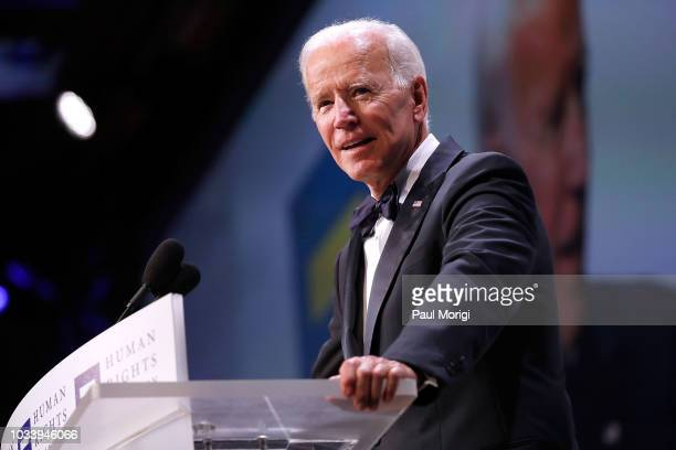 Former US Vice President Joe Biden headlines the 22nd annual Human Rights Campaign National Dinner at the Walter E Washington Convention Center on...