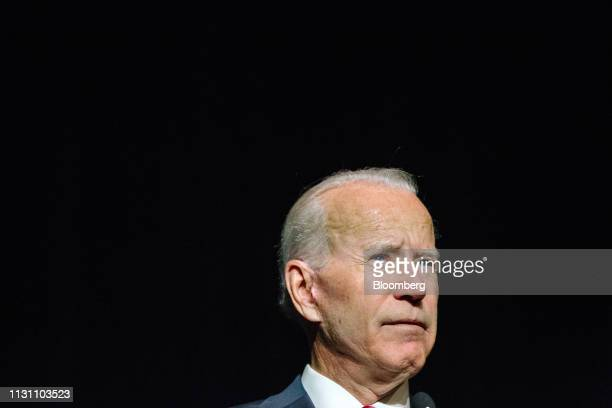 Former US Vice President Joe Biden pauses during the first State Democratic dinner in Dover Delaware US on Saturday March 16 2019 Bidenmade a verbal...