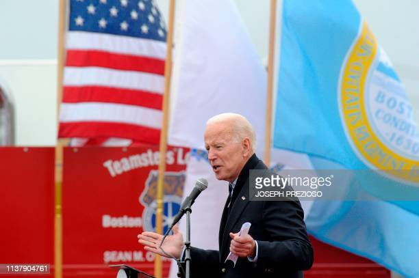 Former US Vice President Joe Biden speaks at a rally organized by UFCW Union members to support Stop and Shop employees on strike throughout the...