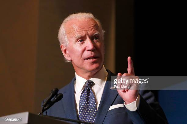 Former US Vice President Joe Biden speaks at the Biden Cancer Summit Welcome Reception at Intercontinental Hotel on September 20 2018 in Washington...