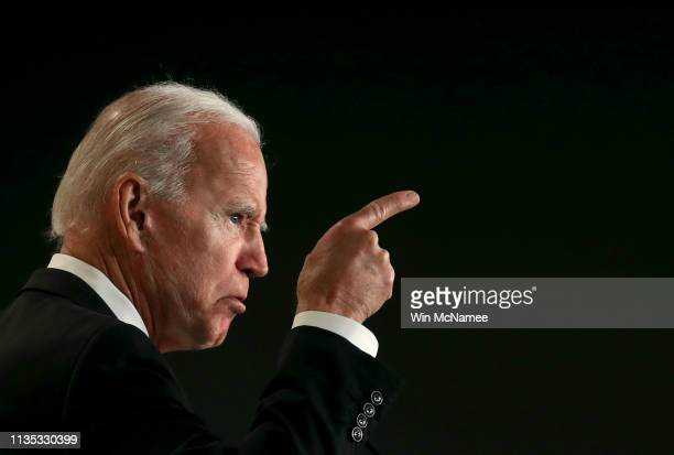 Former US Vice president Joe Biden speaks at the International Association of Fire Fighters legislative conference March 12 2019 in Washington DC The...
