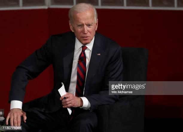 Former US Vice president Joe Biden speaks at the University of Pennsylvania's Irvine Auditorium February 19 2019 in Philadelphia Pennsylvania Biden...