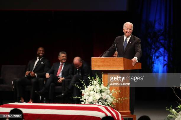Former US Vice President Joe Biden speaks during a memorial service to celebrate the life of of US Sen John McCain at the North Phoenix Baptist...