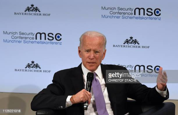 Former US Vice President Joe Biden speaks during a panel discussion during the 55th Munich Security Conference in Munich, southern Germany, on...