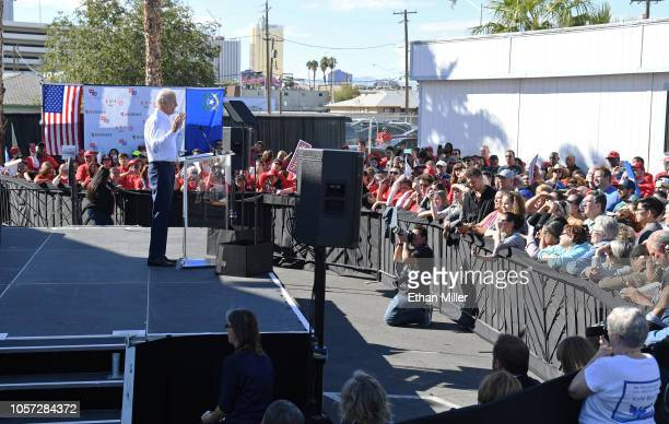Former US Vice President Joe Biden speaks during a rally at the Culinary Workers Union Hall Local 226 as he campaigns for Nevada Democratic...