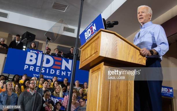 Former US vice president Joe Biden speaks during his first campaign event as a candidate for US President at Teamsters Local 249 in Pittsburgh...