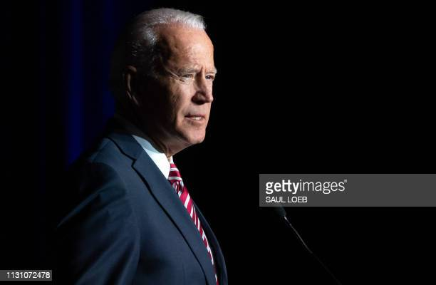 Former US Vice President Joe Biden speaks during the First State Democratic Dinner in Dover Delaware on March 16 2019