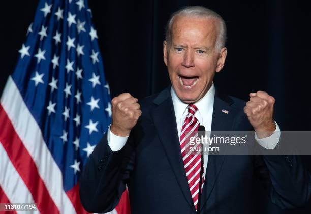 TOPSHOT Former US Vice President Joe Biden speaks during the First State Democratic Dinner in Dover Delaware on March 16 2019