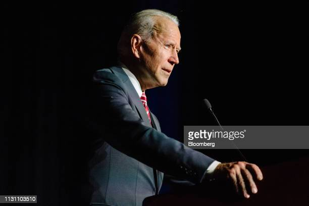 Former US Vice President Joe Biden speaks during the first State Democratic dinner in Dover Delaware US on Saturday March 16 2019 Biden made a verbal...