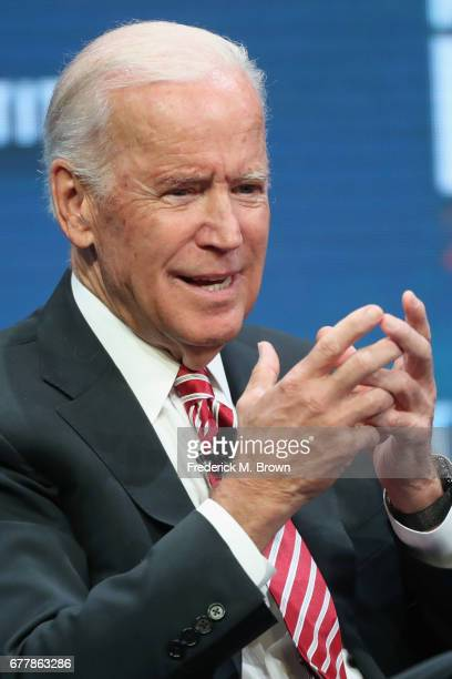 Former US Vice President Joe Biden speaks during the Milken Institute Global Conference 2017 at The Beverly Hilton Hotel on May 3 2017 in Beverly...
