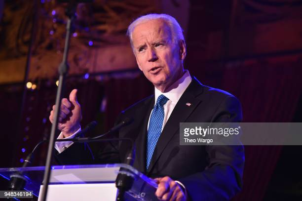 Former US Vice President Joe Biden speaks onstage at the Biden Courage Awards Presented by It's On Us at the Russian Tea Room on April 18 2018 in New...