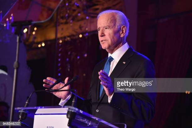 Former U.S. Vice President Joe Biden speaks onstage at the Biden Courage Awards Presented by It's On Us at the Russian Tea Room on April 18, 2018 in...