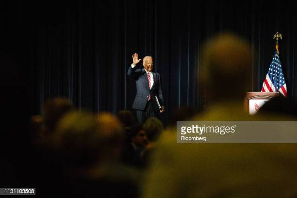 Former US Vice President Joe Biden waves after speaking at the first State Democratic dinner in Dover Delaware US on Saturday March 16 2019...