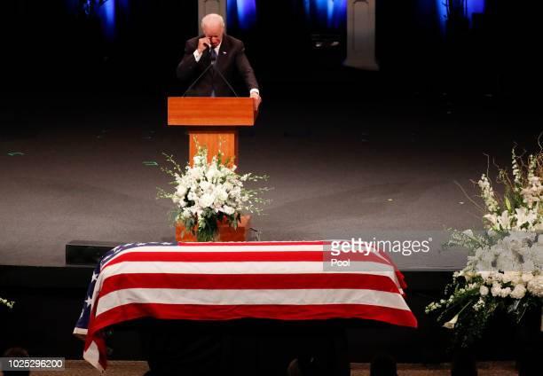 Former US Vice President Joe Biden wipes a tear while giving a tribute during memorial service at North Phoenix Baptist Church for Sen John McCain...