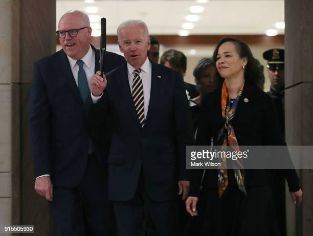 Former US Vice President Joseph Biden arrives to speaks to House Democrats during their 2018 Issues Conference on Capitol Hill February 7 2018 in...