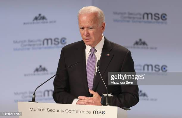 Former US vice president Joseph Biden gives his speech during the 55th Munich Security Conference on February 16 2019 in Munich Germany The annual...