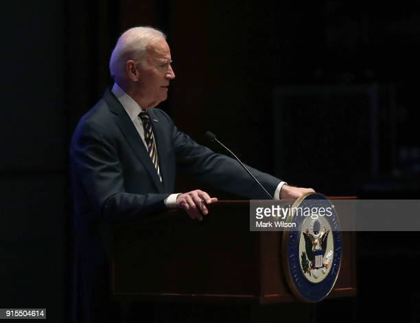 Former US Vice President Joseph Biden speaks to House Democrats during their 2018 Issues Conference on Capitol Hill February 7 2018 in Washington DC