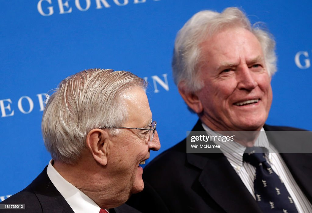 Former U.S. Vice President Walter Mondale (L) and former Sen. Gary Hart (R) (D-CO) confer at a Georgetown University Law Center discussion September 24, 2013 in Washington, DC. Sen. Patrick Leahy, Mondale, and Hart discussed 'Surveillance and Foreign Intelligence Gathering in the United States: Past, Present, and Future.'