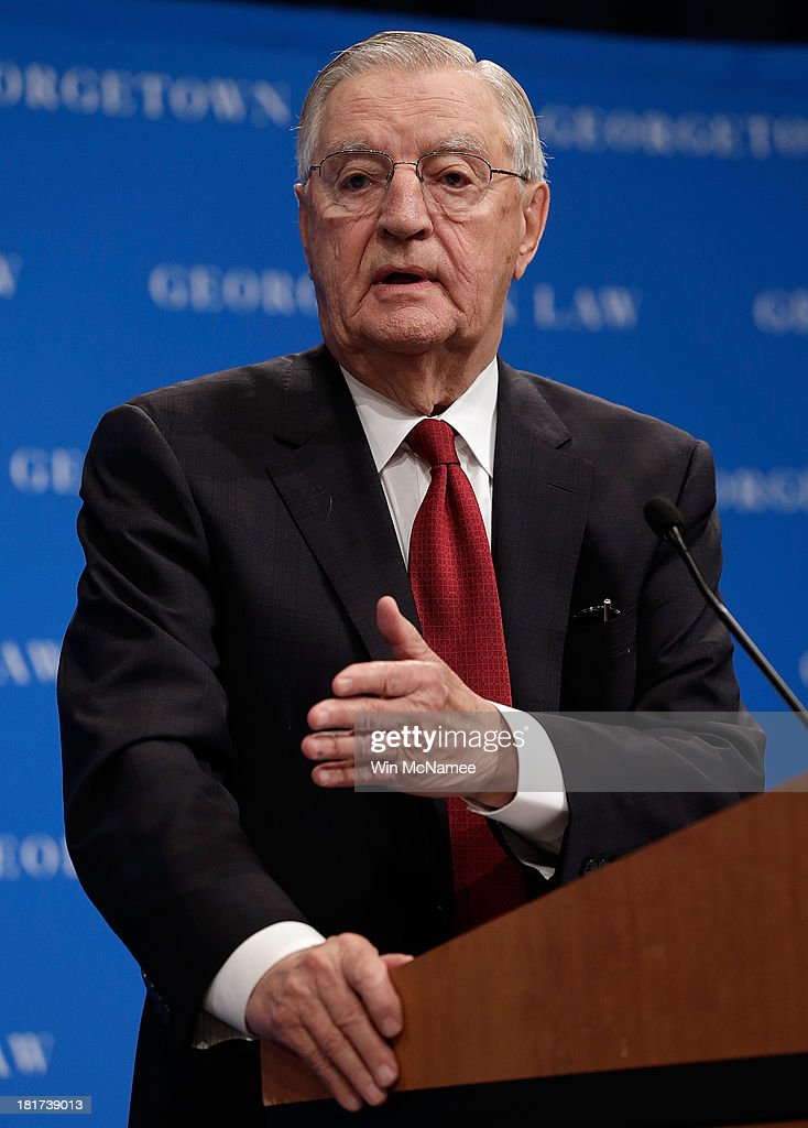Former U.S. Vice President Walter Mondale speaks at a Georgetown University Law Center discussion September 24, 2013 in Washington, DC. Hart joined former Sen. Gary Hart (D-CO) and Sen. Patrick Leahy in discussing 'Surveillance and Foreign Intelligence Gathering in the United States: Past, Present, and Future.'