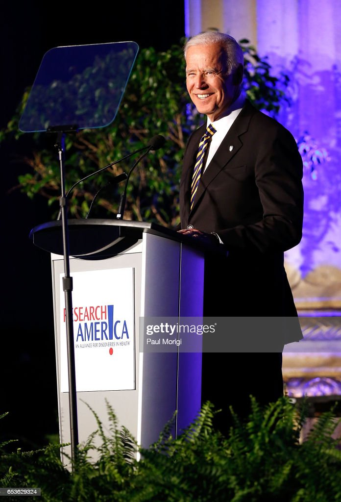 Former U.S. VP Joe Biden speaks after receiving the Gordon and Llura Gund Leadership Award for his commitment to accelerating cancer research through the White House Cancer Moonshot initiative at 21st Annual Research!America Advocacy Awards Dinner at Andrew W. Mellon Auditorium on March 15, 2017 in Washington, DC.