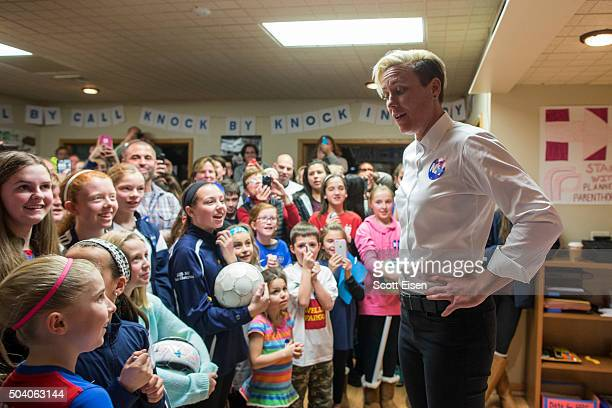 08 Former US Women's National Soccer Team captain Abby Wambach speaks to a crowd at a Hillary Clinton campaign office on January 8 2016 in Salem New...