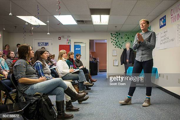 Former US Women's National Soccer Team captain Abby Wambach speaks to a crowd at a Hillary Clinton campaign office on January 9 2016 in Lebanon New...