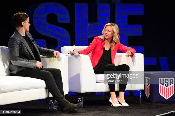 Former US Women's National Team member Aly Wagner interviews San Francisco 49ers assistant coach Katie Sowers during a panel discussion at the...