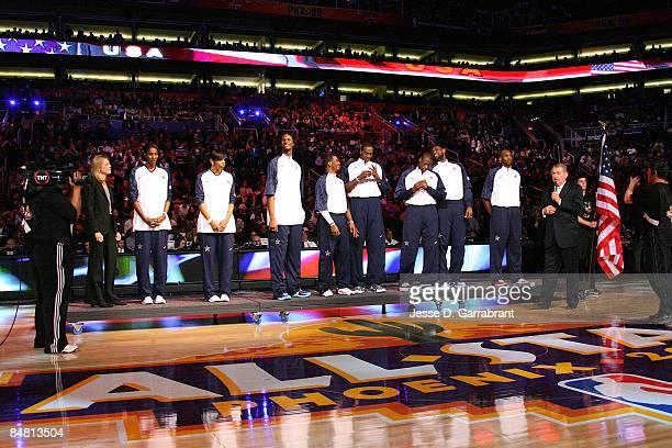 Former USA Basketball Presidnt Val Ackerman Tina Thompson Lisa Leslie Chris Bosh Chris Paul Dwight Howard LeBron James Kobe Bryant and USA Basketball...
