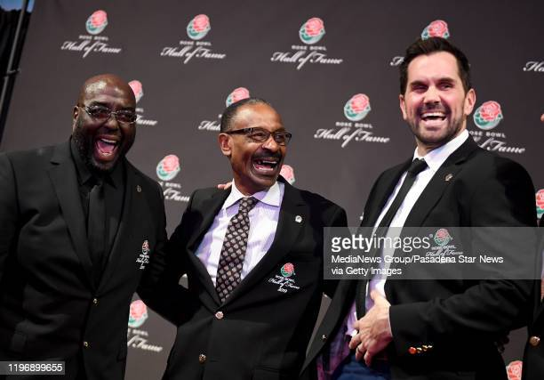 Former USC QB Matt Leinart right along with Cornelius Green center and Jacque Robinson share a laugh after being inducted into the Rose Bowl Hall of...