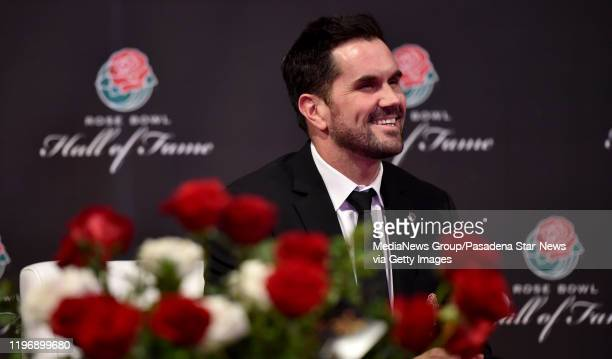 Former USC QB Matt Leinart wearing his hall of fame jacket as he is being inducted into the Rose Bowl Hall of Fame along with Cornelius Green Eddie...