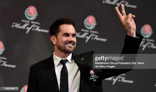 Former USC QB Matt Leinart wearing his hall of fame jacket being inducted into the Rose Bowl Hall of Fame along with Cornelius Green Eddie Casey and...