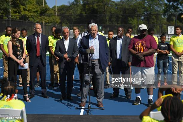 Former USTA President Alan Schwartz speaks with local students and community members during the Laver Cup Legacy Court Ceremony at Garfield Park on...