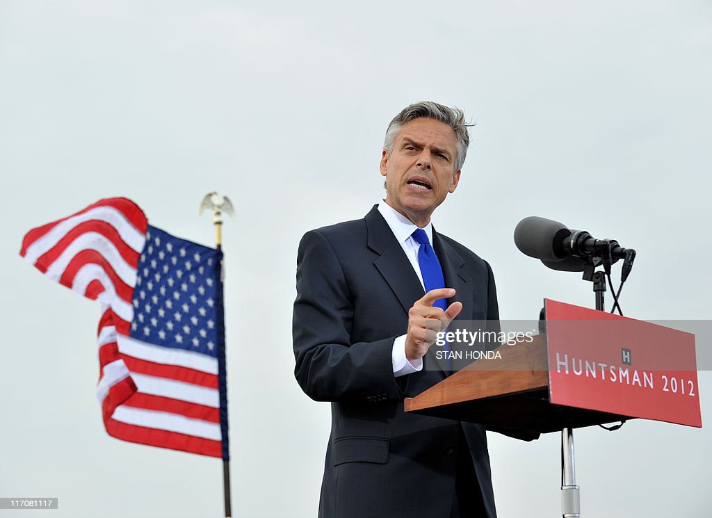 Former Utah Governor Republican Jon Huntsman announces he will run for US president June 21, 2011 at Liberty State Park in Jersey City, New Jersey. Former ambassador to China Jon Huntsman launched his 2012 White House bid on Tuesday, vowing to reverse US decline and sharply assailing President Barack Obama's handling of the economy. 'For the first time in history, we are passing down to the next generation a country that is less powerful, less compassionate, less competitive, and less confident than the one we got,' he told scores of supporters. AFP PHOTO/Stan HONDA