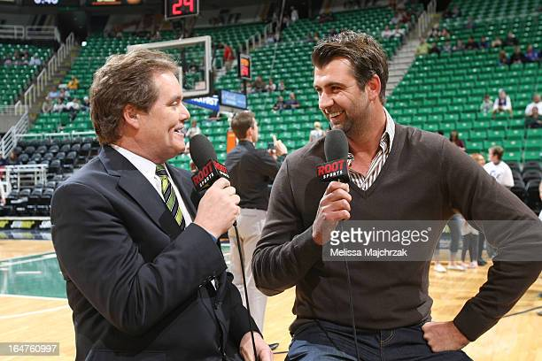 Former Utah Jazz center Mehmet Okur answers questions during a pregame interview prior to a game between the Utah Jazz and the Phoenix Suns at Energy...