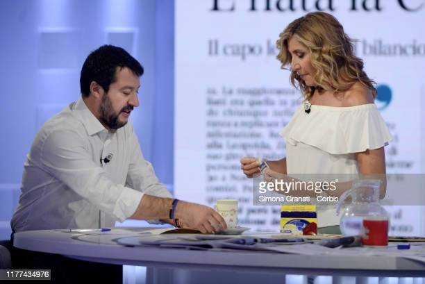 Former Vice Premier Matteo Salvini drinks a chamomile offered to him by the presenter Myrta Merlino during the TV show l'Aria che Tira on October...