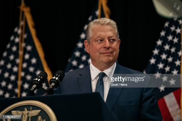 Former Vice President Al Gore joins New York Governor Andrew Cuomo and delivers a speech on the importance of renewable energy minutes before the...