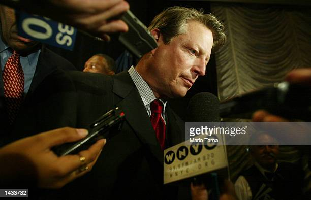 Former Vice President Al Gore listens to reporters' questions at a fundraiser for New York gubernatorial candidate H Carl McCall September 26 2002 in...