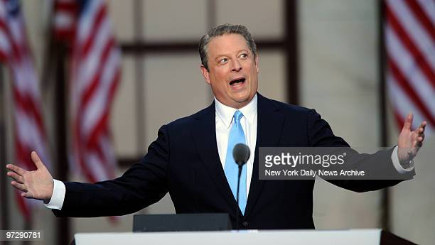 Former Vice President Al Gore speaking on the final day of the Democratic National Convention